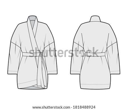 Kimono technical fashion illustration with relaxed fit, long wide sleeves, belt to cinch the waist, above-the-knee length. Flat apparel blouse template front, back grey color. Women men unisex shirt Stock fotó ©