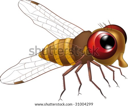 download its about Kind Fly From Cartoon Film With Red Eyes Stock Vector pic