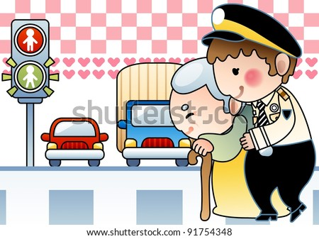 Kind Police Officer and Happy Old Woman with a smile