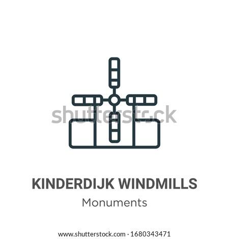 kinderdijk windmills outline