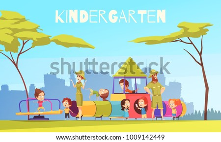 Kindergarten children playground composition with urban scenery silhouettes and group of pre-schoolers with nursery teachers vector illustration Stock photo ©