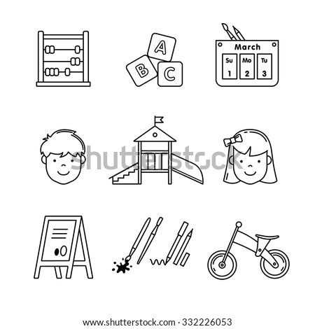 Kindergarten education icons thin line art set. Girl, boy, abacus, abc blocks, calendar, playground slide and other equipment. Black vector symbols isolated on white.