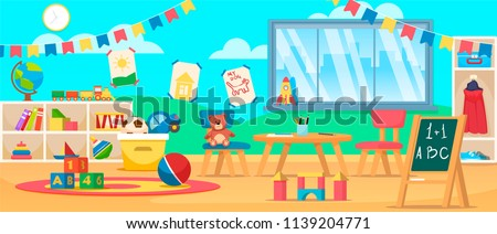 Kindergarten education interior. Preschool classroom with desk, chairs and toys. Learning and study place horizontal back banner. Children school vector background.  Flat style cartoon illustration.