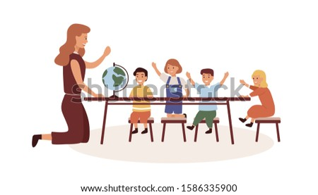 Kindergarten geography lesson flat vector illustration. Female babysitter and kids cartoon characters at elementary school classroom. Kindergartener teaching natural science isolated on white.