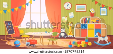 Kindergarten interior. Daycare nursery with furniture and kid toys. Preschool child room for playing, activity and learning, vector cartoon. Blackboard and table with chairs for children