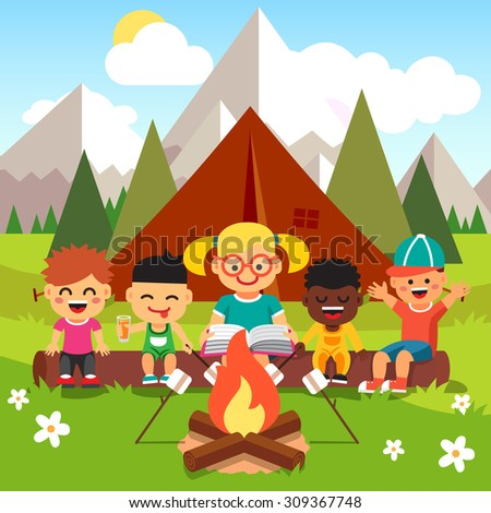 kindergarten kids camping in