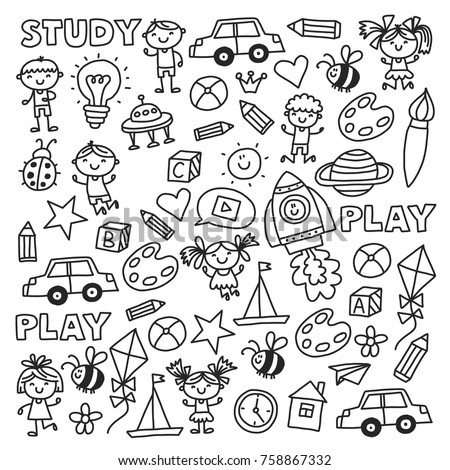 Kindergarten Nursery Preschool School education with children Doodle pattern Kids play and study Boys and girls kids drawing icons Space, adventure, exploration, imagination concepts