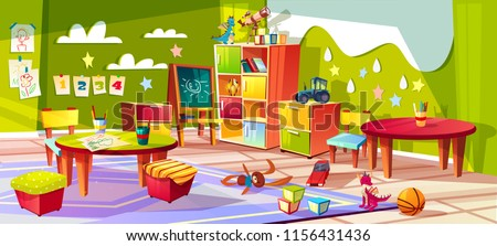 Kindergarten or kid room interior vector illustration. Empty cartoon background with child toys, tables or soft chairs and drawer boxes or pencils for drawing and painting