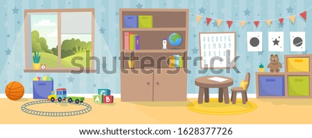 Kindergarten or kid room interior vector illustration. Empty cartoon background with child toys, tables and drawer boxes. Modern room with furniture, sunlight from window and toys for kids. Preschool. Stock foto ©