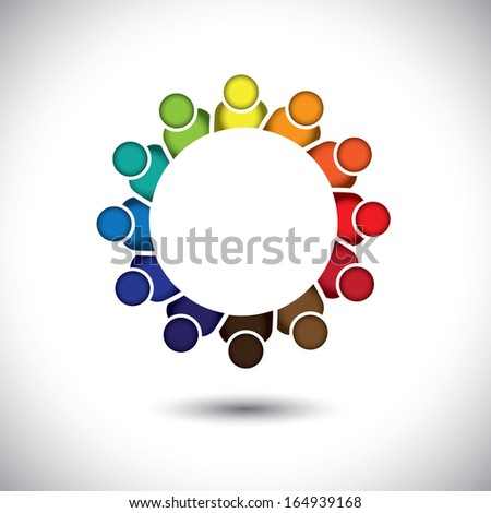 kindergarten pre-school kids or children playing - concept vector. This abstract graphic also represents support group meeting, students learning, community unity, management strategy & planning