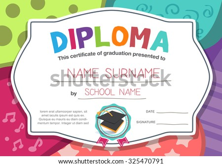 Graduation diploma vector free download free vector art stock kindergarten preschool elementary school kids diploma certificate background design template yadclub Images