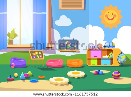 Kindergarten room. Empty playschool room with toys and furniture. Kids playroom cartoon vector interior. Playschool kindergarten, furniture indoor interior for play illustration