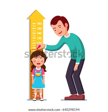 Kindergarten teacher or father measuring girl kid height with painted graduations on the wall arrow. Flat style character vector illustration isolated on white background.