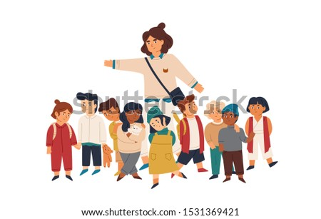 Kindergarten tutor and pupils flat vector illustration. Smiling adult woman and little kids cartoon characters. Primary school, day care center design element. Teacher and preschool children on stroll