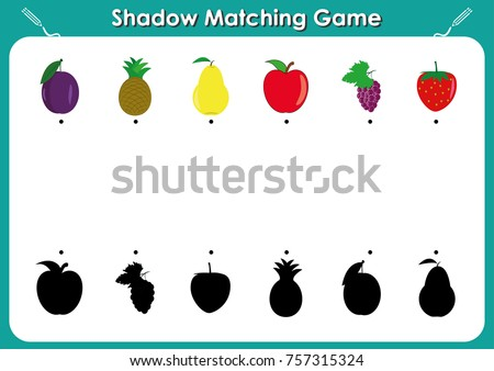 Kindergarten worksheets to help children strengthen his visual discrimination skills by matching colorful pictures to their all-black shadows, Shadow matching game, activity page for kids.