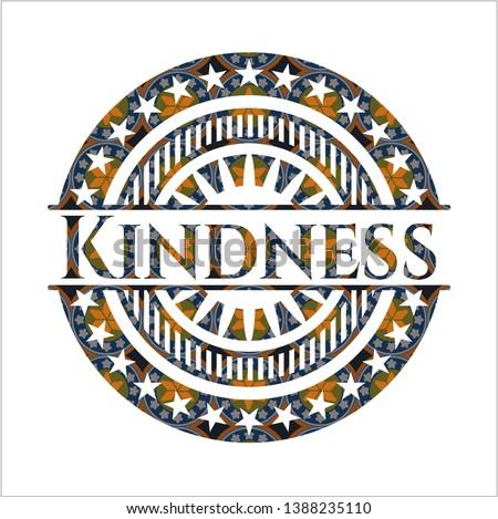 Kindness arabic style emblem. Arabesque decoration.