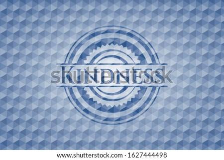 Kindness blue polygonal emblem. Vector Illustration. Detailed.