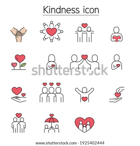 Kindness, Charity, Donation fill color line icons Foto stock ©
