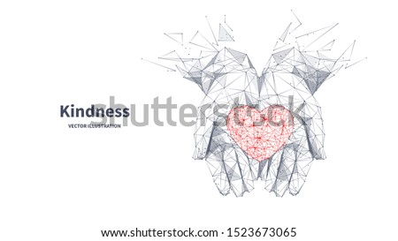 Kindness low poly wireframe banner template. Polygonal healthcare and volunteer service symbol mesh art illustration. 3D heart in hand palms, human handbreadths with connected dots