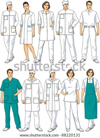 Kinds of clothes for doctors and staff nurses