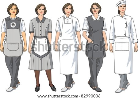 Kinds of female aprons for various female trades - stock vector
