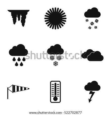 Kinds of weather icons set. Simple illustration of 9 kinds of weather vector icons for web