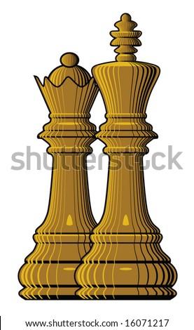 King & Queen Chess Pieces (Vector) - 16071217 : Shutterstock