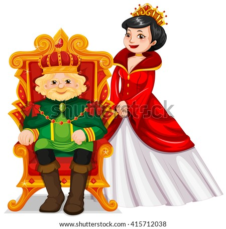 King and queen at the throne illustration