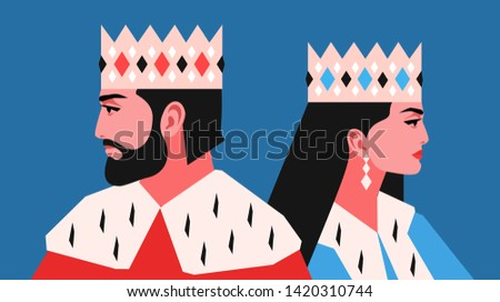King and queen, back to back, side view. Female and male characters, wearing crowns and royal ermine mantles. Vector illustration