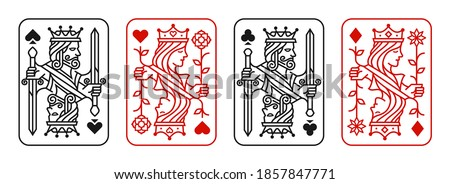 King and queen playing card vector illustration set of hearts, Spade, Diamond and Club, Royal cards design collection