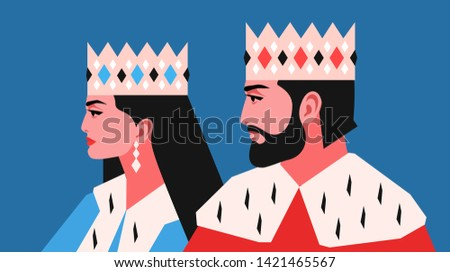 King and queen, side view. Female and male characters, wearing crowns and royal ermine mantles. Vector illustration