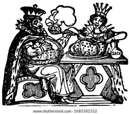 king arthur  vintage engraved