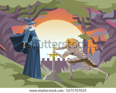 king arthur with excalibur in