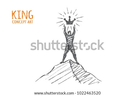 king atop a mountain with a