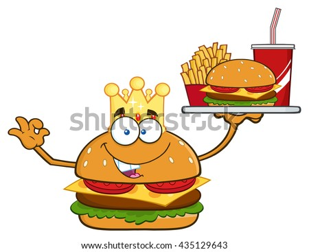 King Burger Cartoon Mascot Character Holding A Platter With French Fries And Soda