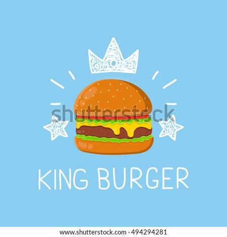 King burger concept vector cartoon flat and doodle illustration. Crown and stars icon. yummy delicious fresh burger, hamburger. cheeseburger. Fast food,fastfood,menu concept