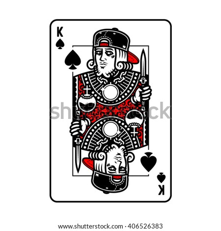 King card vector design in colors. Vector print for t-shirt or clothing. Print design. Character design.