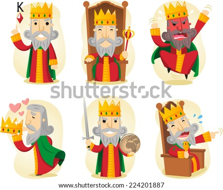king cartoon illustration set