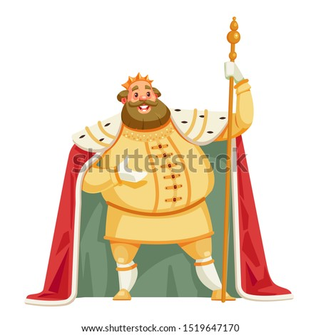 King cartoon vector illustration isolated in white background. Good, merry king wearing crown and mantle. Stocky and fat old white skinned, kind and happy king.  Stockfoto ©