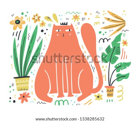 king cat flat hand drawn vector