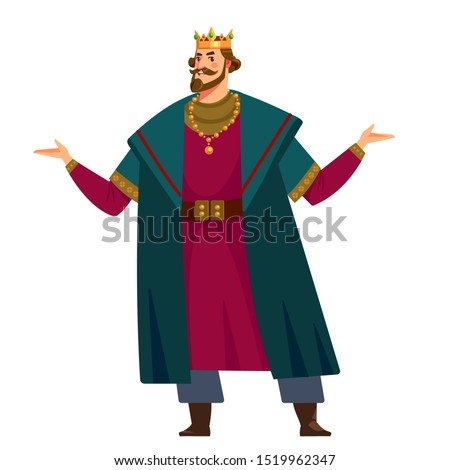 King character. Tall, wise, handsome, elegant, sophisticated king. cartoon vector illustration isolated in white background.