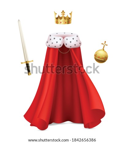 King cloak composition with realistic image of monarch gown with red royal robe sceptre and ball vector illustration Stock foto ©