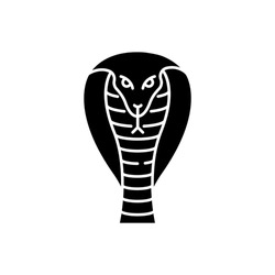 King cobra black glyph icon. Hamadryad. Venomous snake with hood. Dangerous reptile. Endemic species of India. Aggressive animal. Silhouette symbol on white space. Vector isolated illustration