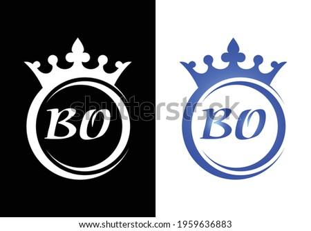 king crown letter alphabet BO for company logo icon design. Stok fotoğraf ©