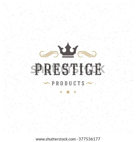 King Crown Logo Template. Vector Design Element Vintage Style for Logotype, Label, Badge, Emblem. Crown Logo, King Logo, Royal Crown Symbol, Queen Icon, Retro Logo.