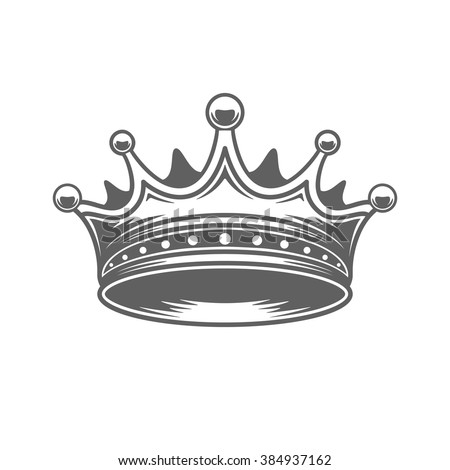 King Crown Logo Vector Illustration. Royal Crown Silhouette Isolated On White Background. Vector object for Labels, Badges, Logos Design. King Logo, Luxury Logo, Crown Symbol, Vintage Logo, Crown Icon