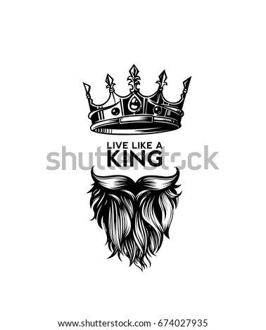 King crown, moustache and beard icon, symbol of power, rule, vector illustration