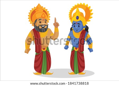 King Dashratha is pointing his finger and talking with Lord Rama. Vector cartoon illustration. Isolated on a white background. ストックフォト ©