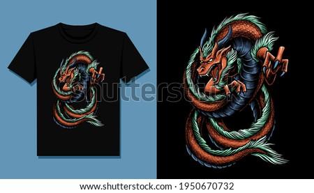 king dragon t shirt design Foto stock ©