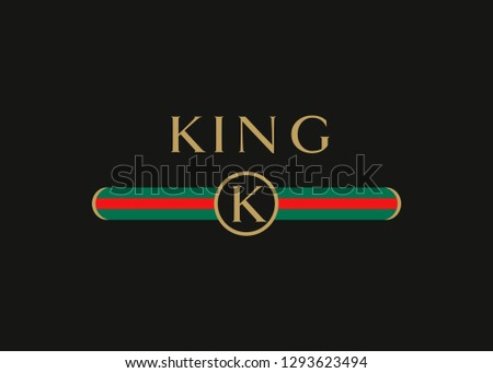 king gold text with letter k in